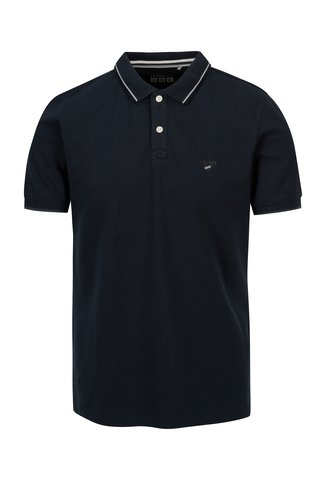 Tricou polo slim fit bleumarin cu dungi pentru barbati - s.Oliver