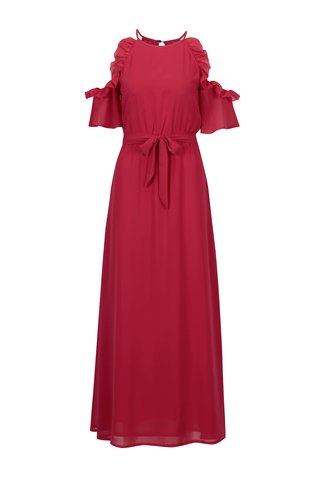 Rochie cold shoulder roz cu volane si cordon in talie - Mela London