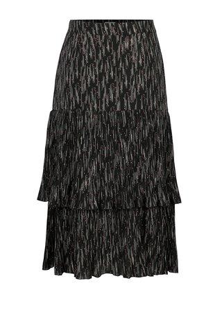 Tmavě šedá vzorovaná plisovaná sukně Yesre