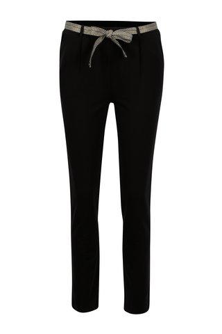 Černé zkrácené bavlněné kalhoty s páskem Yerse