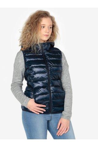 Tmavě modrá dámská prošívaná vesta s kapucí s.Oliver