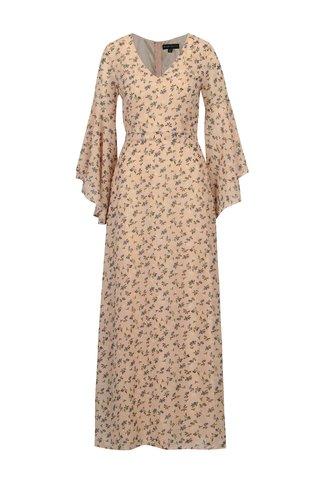 Rochie roz cu print si maneci clopot - Mela London
