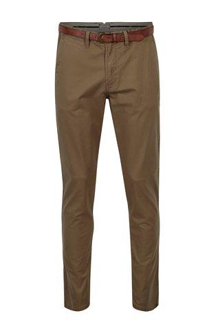 Hnědé chino kalhoty s páskem Jack & Jones Spencer