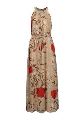 Rochie bej cu print floral si cordon in talie - Mela London