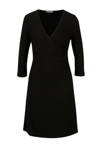 Černé šaty s překládaným výstřihem Yerse