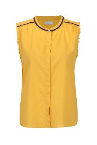 Žlutá bavlněná halenka bez rukávů Yerse