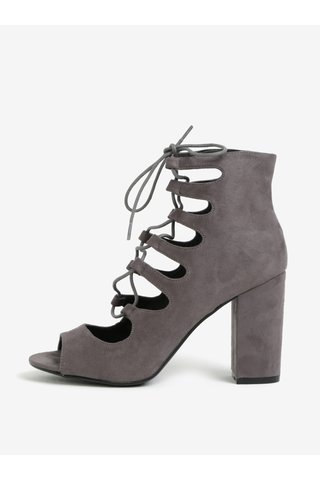 Šedé kotníkové boty na podpatku se šněrováním MISSGUIDED