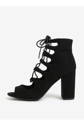 Černé kotníkové boty na podpatku se šněrováním MISSGUIDED