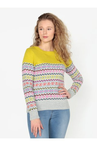 Pulover galben&gri cu model geometric Oasis Fairisle