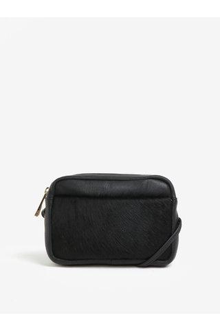Černá kožená crossbody kabelka s umělým kožíškem Oasis Camera