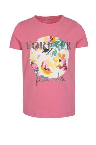 Růžové holčičí tričko s třpytivým nápisem name it Ivalaiane