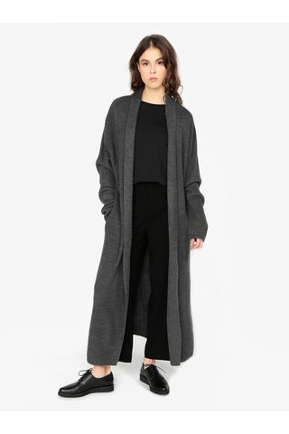 Cardigan gri lung cu model tricotat  - MISSGUIDED