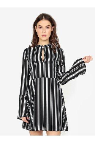 Černé pruhované šaty s dlouhým rukávem MISSGUIDED