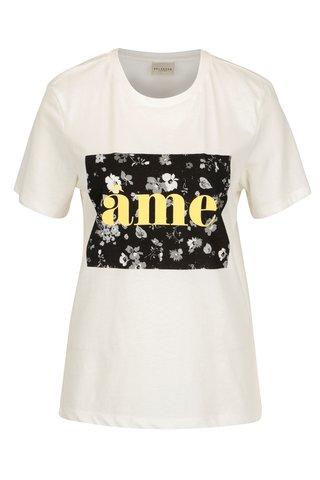 Krémové tričko s potiskem Selected Femme Marny