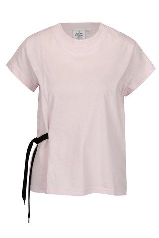 Tricou roz deschis cu snur lateral din bumbac organic -  Cheap Monday