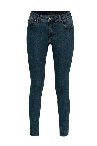 Blugi skinny cropped albastri cu talie clasica pentru femei - Cheap Monday