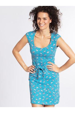 Modré vzorované šaty s páskem Blutgeschwister