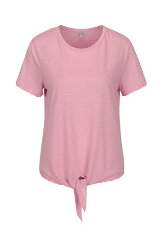 Růžové tričko s uzlem ONLY Uma