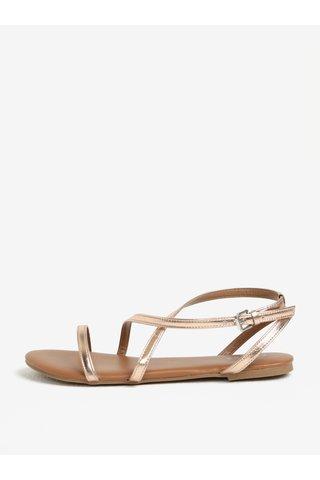Sandály v růžovozlaté barvě Pieces Docia