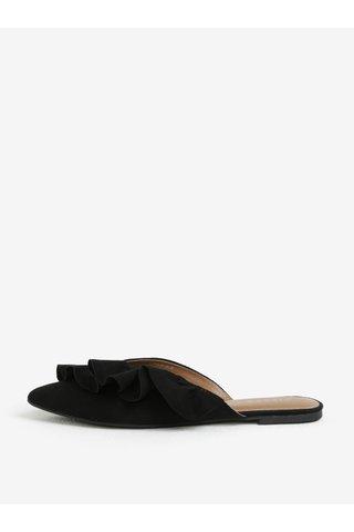 Pantofi mules negri cu volane Pieces Donelle