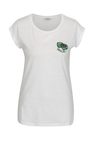 Bílé tričko s výšivkou citrónu ONLY Hollie
