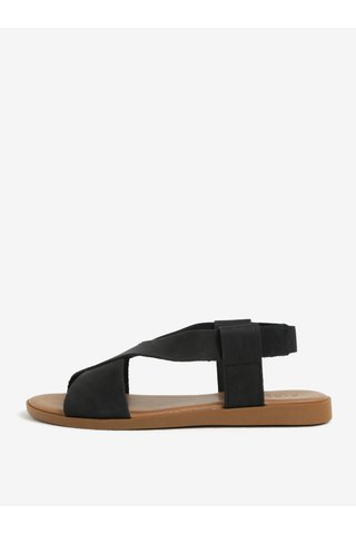 Černé kožené sandály Pieces Malu