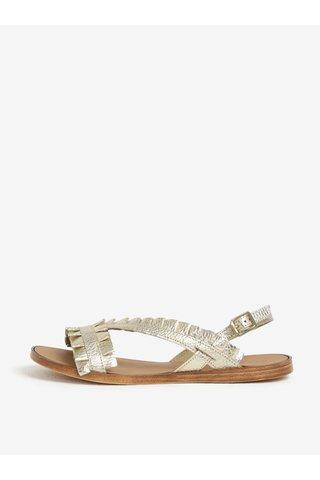Kožené sandály ve zlaté barvě Pieces Mindy