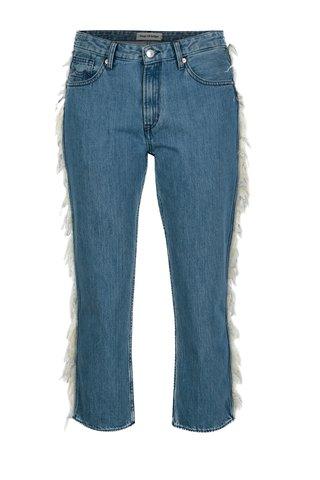 Modré dámské zkrácené džíny s třásněmi Kings of Indigo Kimberley