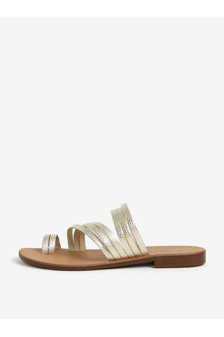 Kožené pantofle ve zlaté barvě Pieces Mavis