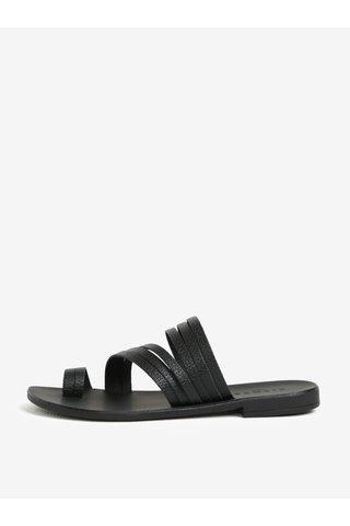 Černé kožené pantofle Pieces Mavis