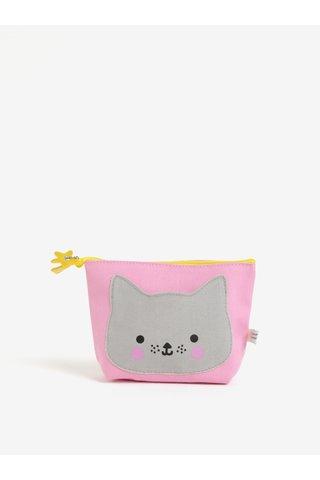 Geanta pentru cosmetice gri & roz - Disaster Hi Kawaii Cat