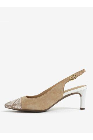 Pantofi slingback maro cu model sarpe din piele Geox Bibbiana