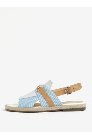 Sandale maro&albastru in dungi cu piele Geox Mary Kolleen