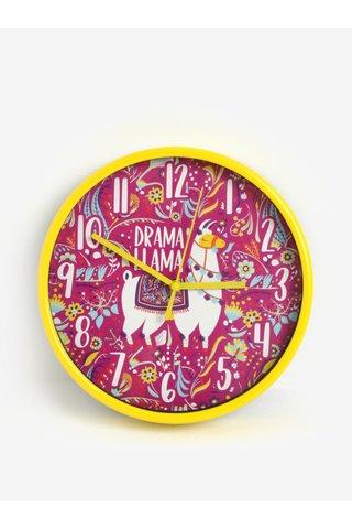 Ceas de perete roz-galben pentru fetite cu motiv lama SIFCON