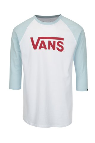 Bluza cu maneci 3/4 alb cu bleu VANS Classic
