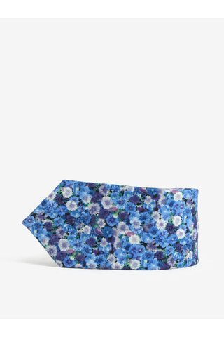 Cravata slim cut albastra cu print floral - Burton Menswear London
