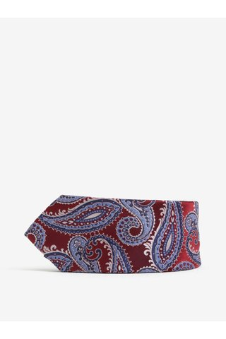 Cravata slim cut cu model paisley bordo & albastru - Burton Menswear London
