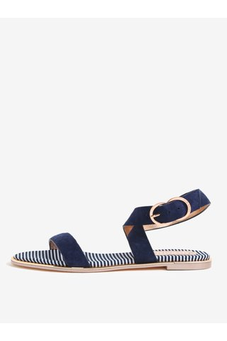 Sandale bleumarin din piele intoarsa cu baretele late si catarama Ted Baker Qereda