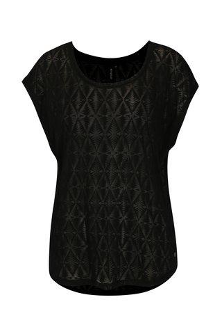 Tricou asimetric negru cu print geometric Rip Curl