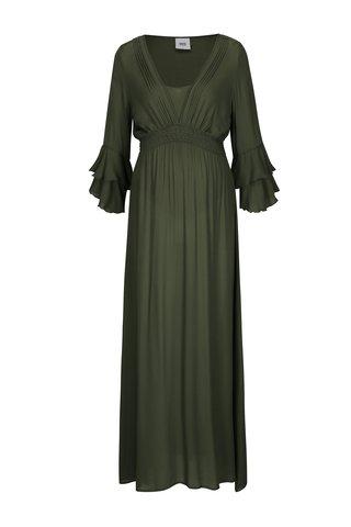 Rochie verde olive cu pliuri pentru femei insarcinate - Mama.licious Lisa