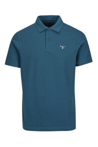 Tricou polo albastru cu logo brodat - Barbour Sports