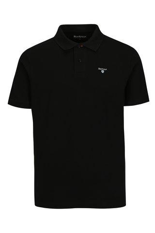 Tricou polo negru cu logo brodat - Barbour Sports