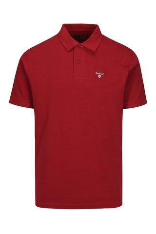Tricou polo visiniu cu logo brodat - Barbour Sports