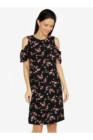 Rochie cold shoulder neagra cu print floral M&Co