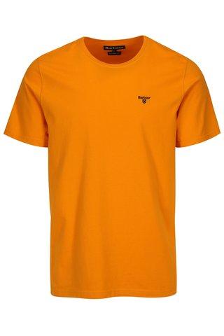 Tricou tailored fit oranj cu logo brodat - Barbour Sports Tee