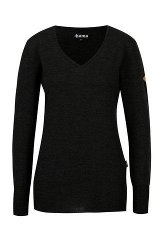 Pulover gri inchis din lana merino pentru femei - Kama