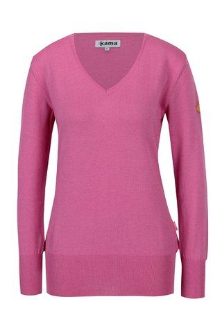 Pulover roz din lana Merino pentru femei - Kama