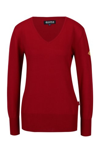 Pulover rosu din lana Merino pentru femei - Kama