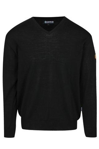Černý pánský svetr s véčkovým výstřihem Kama