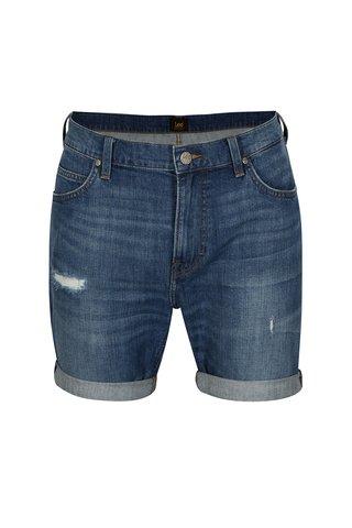 Modré pánské džínové kraťasy s potrhaným efektem Lee Curt